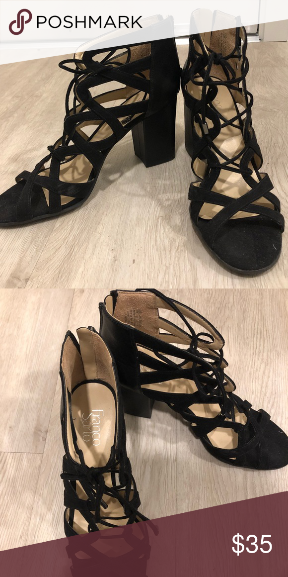 5497aa5a2e21 Franco Sarto Meena Block Heel Lace-Up Black Franco Sarto Meena Block Heel  Lace-Up Black Bought these when I lived in LA and wore them once or twice  before ...