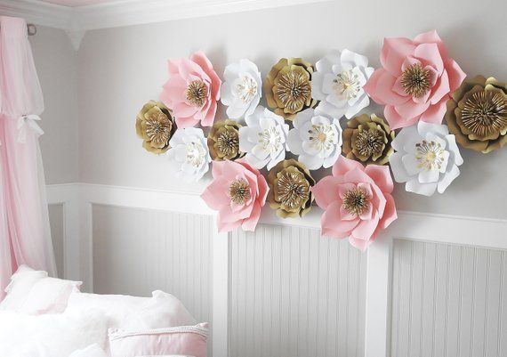 Set of 16 Large Paper Flowers, Nursery Floral Arrangement, Bohemian Decor, 3D Wall Art, Baby Shower, Birthday Party Decor, Wedding Photo #paperflowerswedding