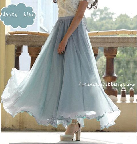 Light Blue Chiffon Skirt