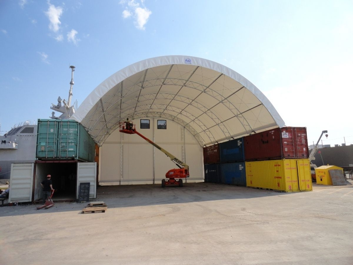 Building With Containers In Natural Light Fabric Structure Fabric Building Fabric Building On Shippin Shipping Container Sheds Fabric Buildings Container House