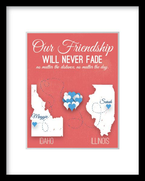 Long Distance Friendship Quote Print Gift Best Friend Relationship ...
