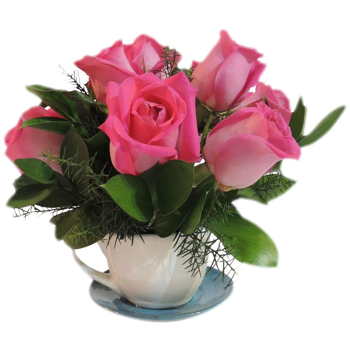 Te con amigos:6 rosas con follaje variado. Este arreglo va en una base de taza de té. Solicítalo ya: Teléfono +571 2159030 o al correo electrónico clientes@lapetala.com.. Precio $ 55.000