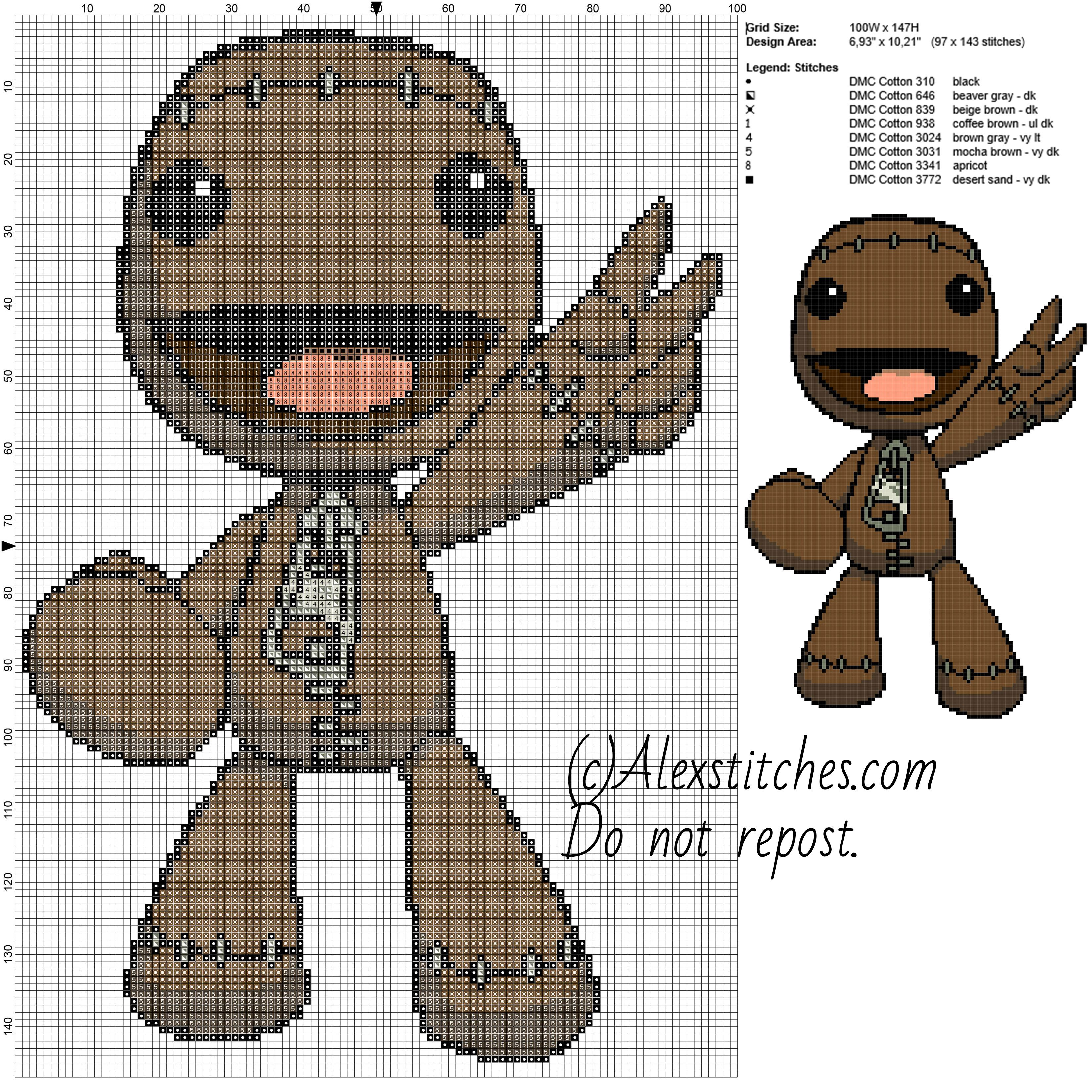Sackboy Little Big Planet free videogames cross stitch pattern ...