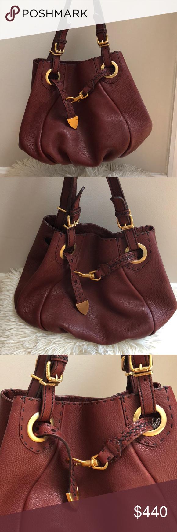 6e6e13fa7911 Fendi Burgundy Leather Selleria Pomodorino Bag New Beautiful burgundy  pebbled leather