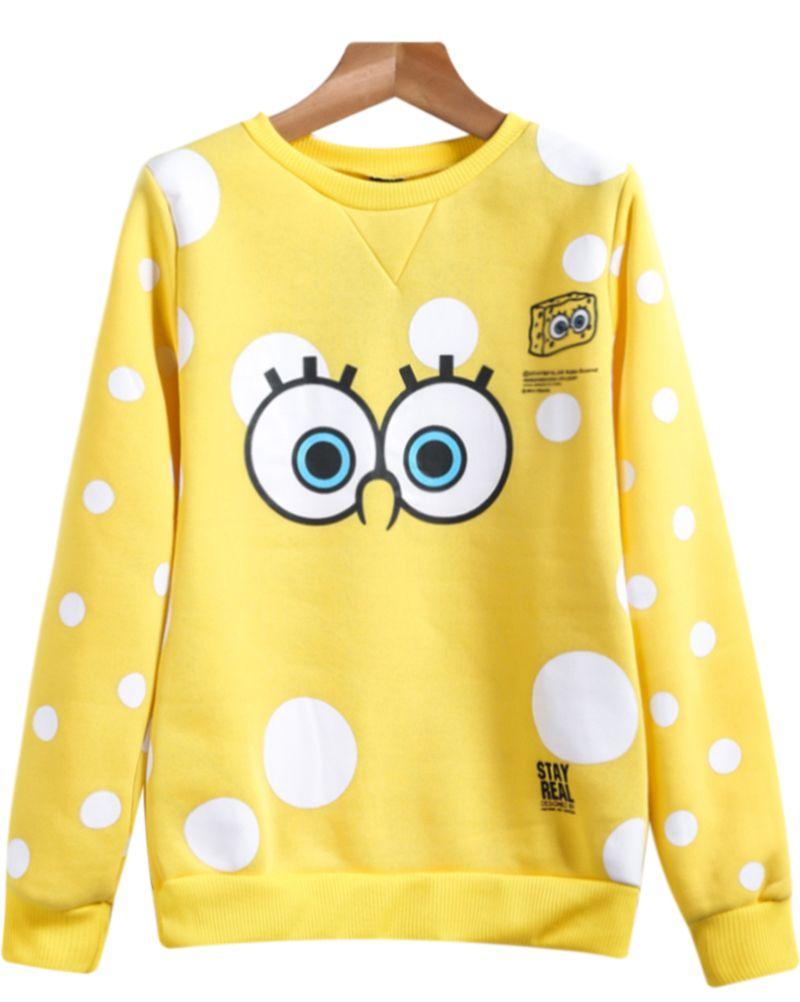 Yellow Long Sleeve Spongebob Print Sweatshirt Kids Fashion Clothes Hoodie Fashion Clothes