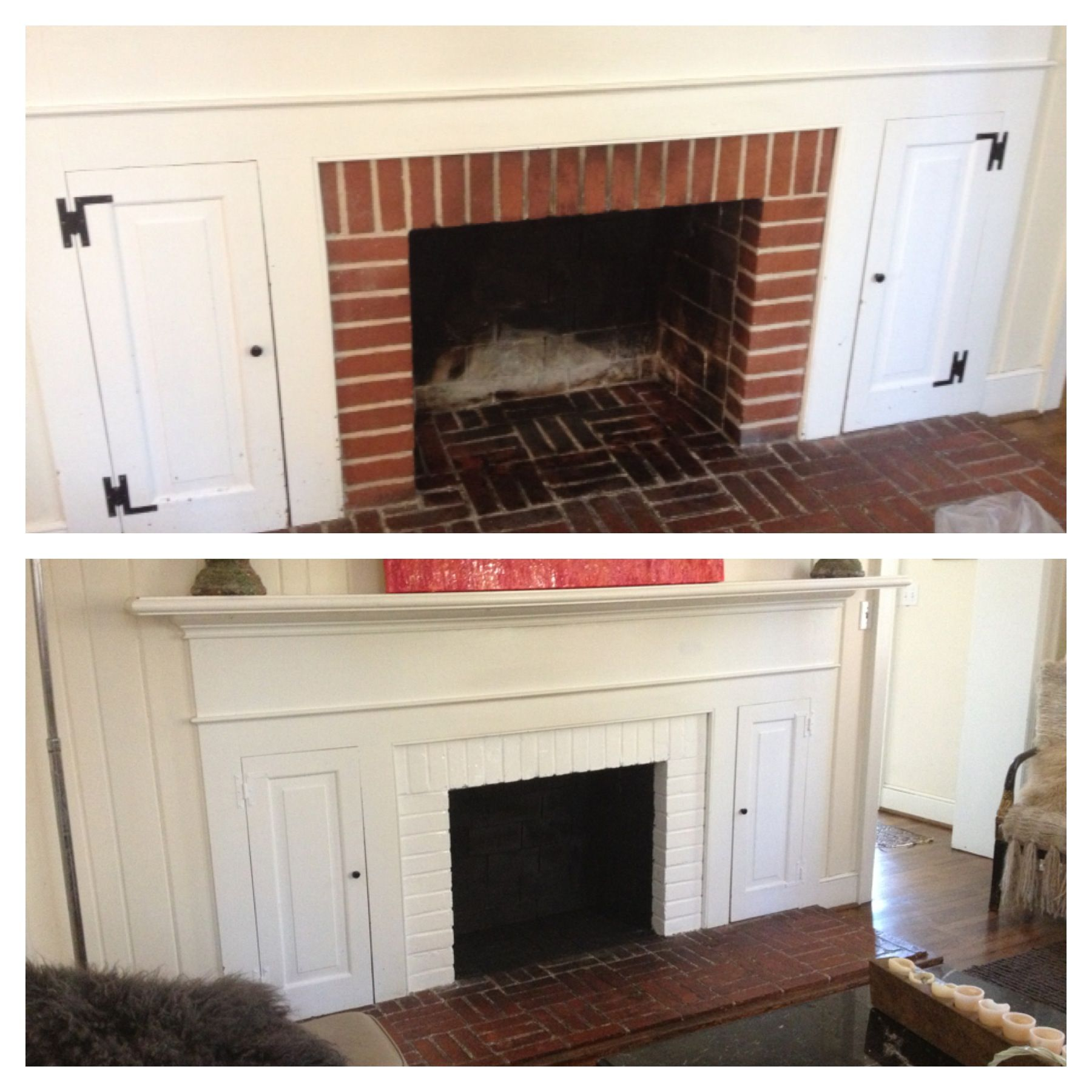 Easy Fireplace Transformation Spray Paint Inside Black Paint Red