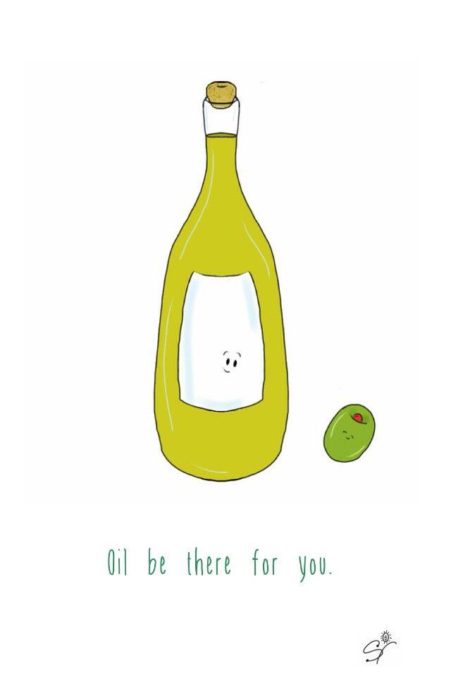 Olive oil. (The Taste Buds, pun, illustration).