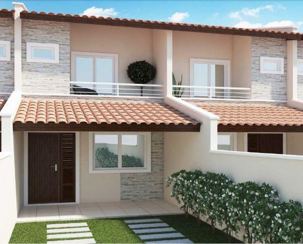 Fachadas de casas populares com pedras Casas geminadas