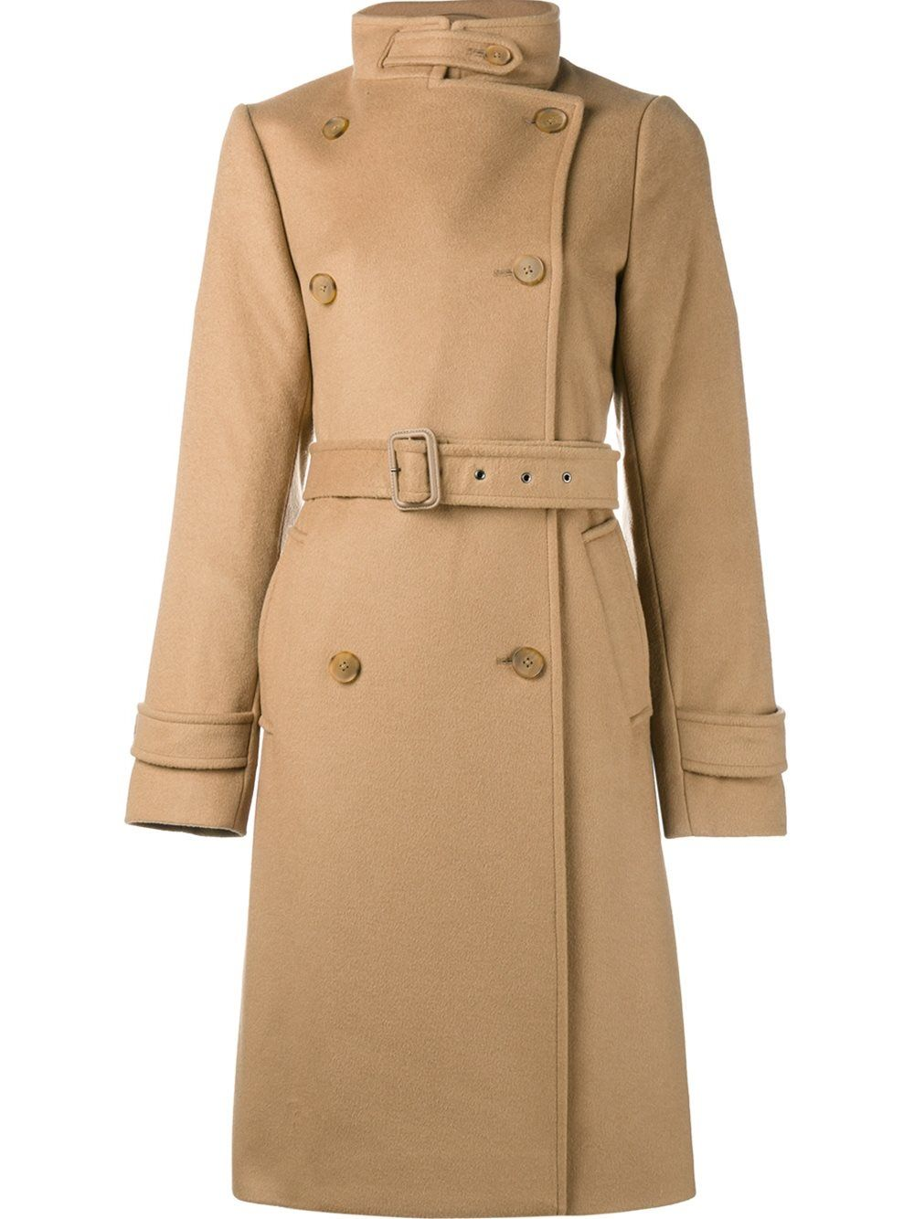 ef6702a076bd3 Camel brown cashmere-wool blend belted trench coat from Vince featuring  notched lapels
