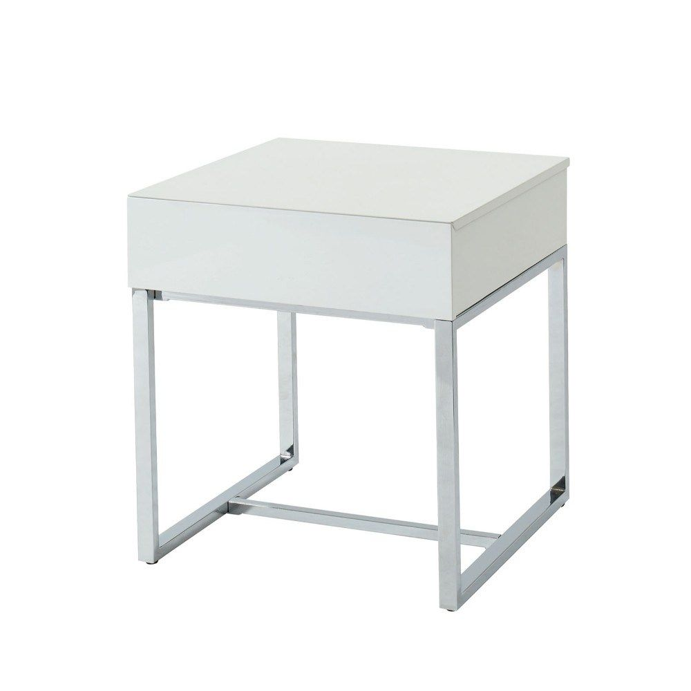 White Finish Wood And Silver Finish Metal Single Drawer Square End