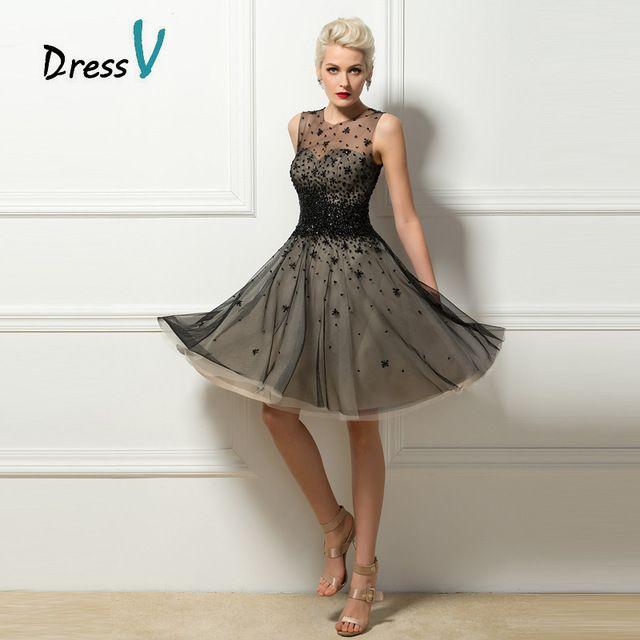 Little Black Cocktail Dresses A - linha Sheer decote Dazzling lantejoulas baguetes regresso A casa vestidos pavão vestidos de festa 11291687