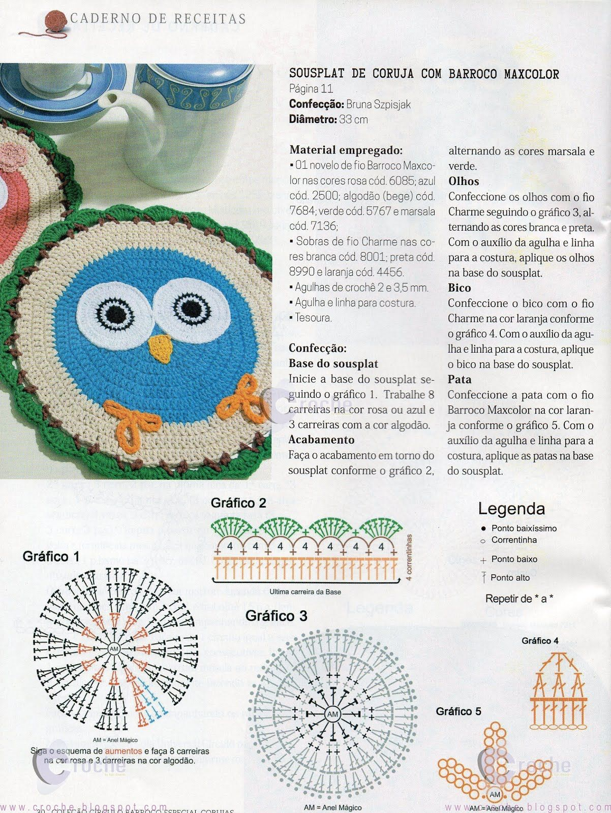 Receitas do Croche Croche!: Sousplat coruja | crochet | Pinterest ...