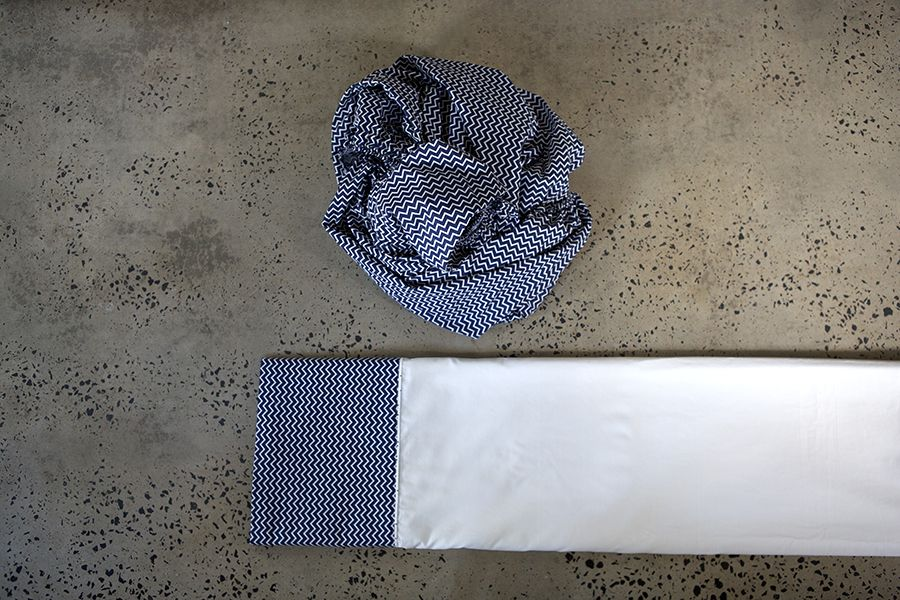 navy zigzag sheet set, photos by Jek Maurer