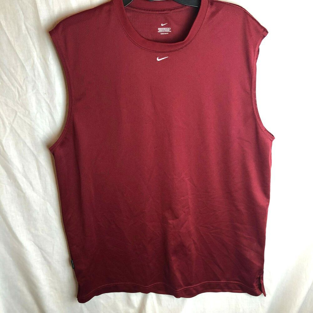 0e0a2368d3c9d0 Nike Mesh Sleeveless Shirt Mens Large Red Maroon Basketball  Nike   ActivewearTank