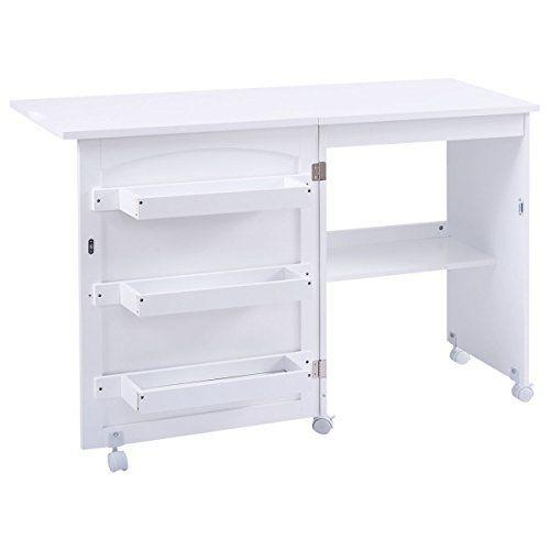 Giantex White Folding Swing Craft Table Shelves Storage C Https Www Dp B01n311hh5 Re Table For Small Space Storage Cabinet Shelves Sewing Table