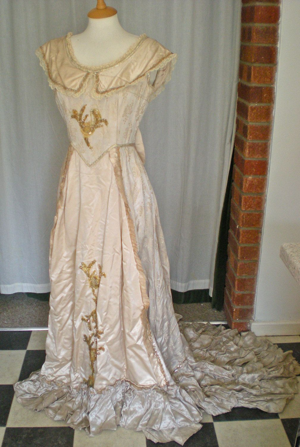 Edwardian style wedding gown with train, ruffles, bows and sequins ...