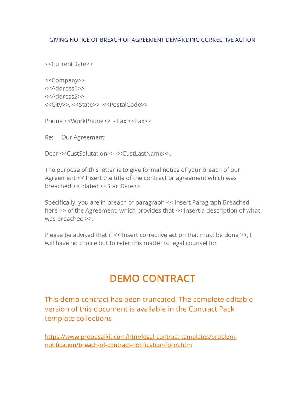 Breach Of Contract Notification Form Legal Contracts Contract Template Contract
