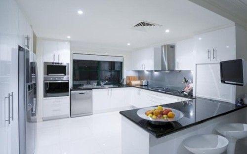 mueble blanco cocina en u mesada negra?? Cocinas Pinterest