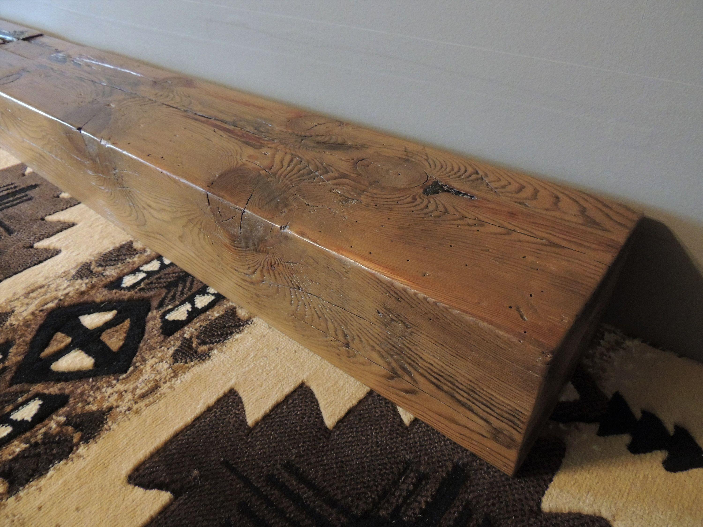 Reclaimed Wood Fireplace Mantel 64 X 8 X 6 Rustic 1800s Pine