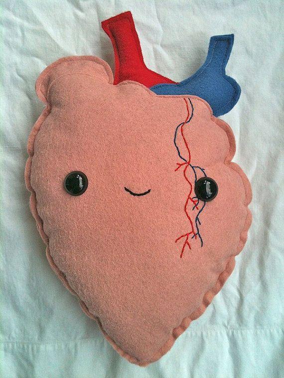 human organ plush heart etsy heart
