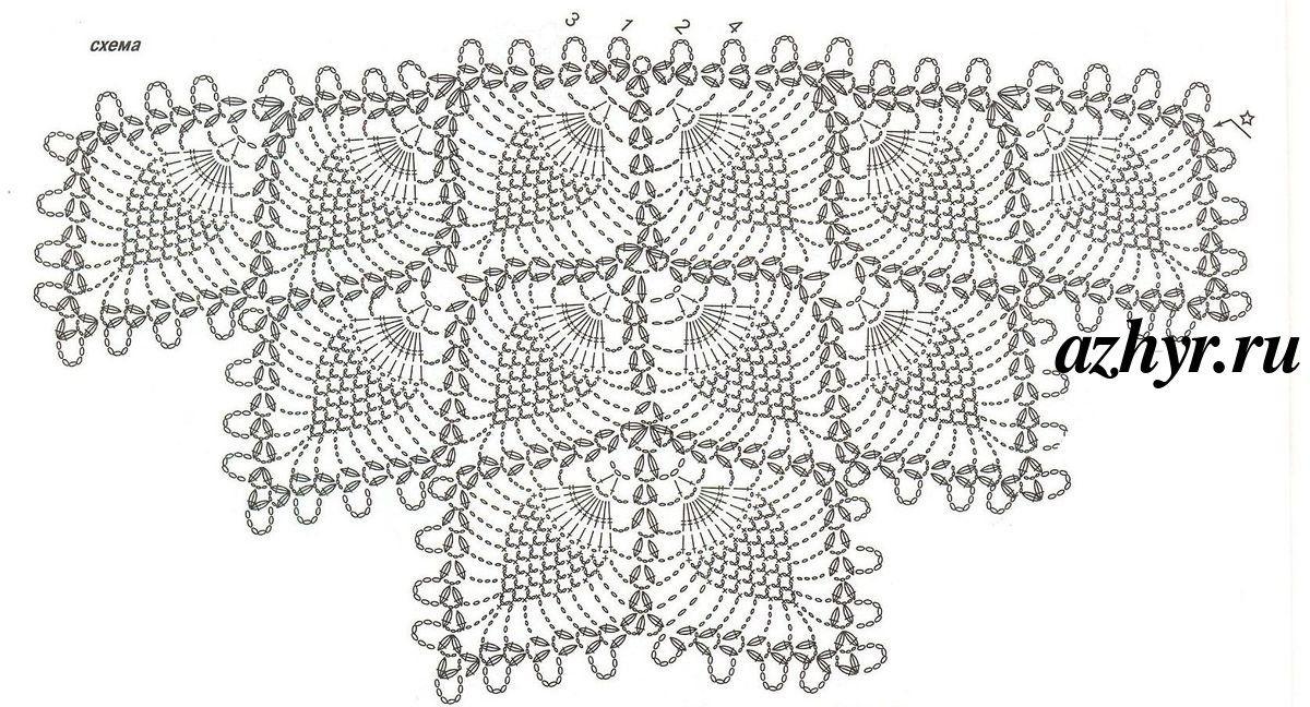 Вяжем крючком ажурную шаль с узором «ананас» своими руками: фото и описание