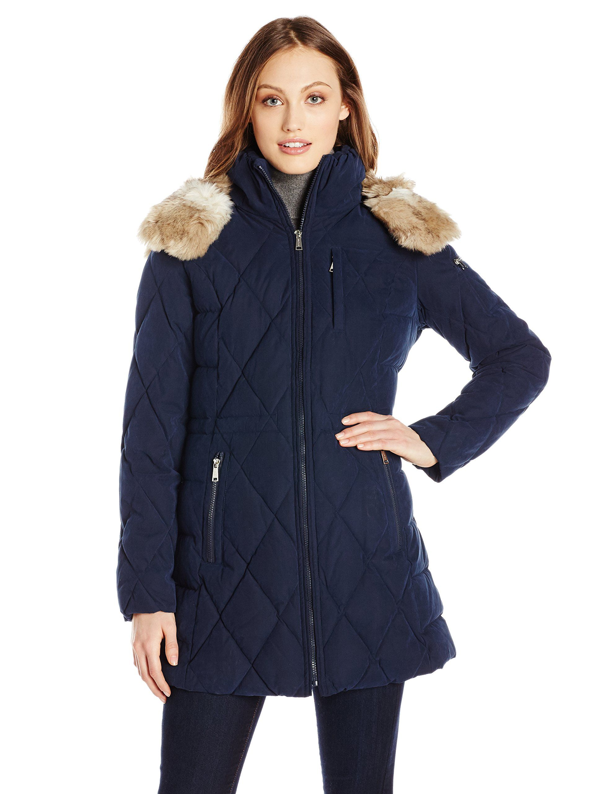 4d5039add Nautica Women's Diamond Quilted Puffer Coat with Hood, Marine, Large ...