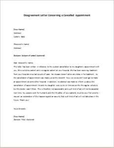 Elegant Disagreement Letter Concerning A Cancelled Appointment
