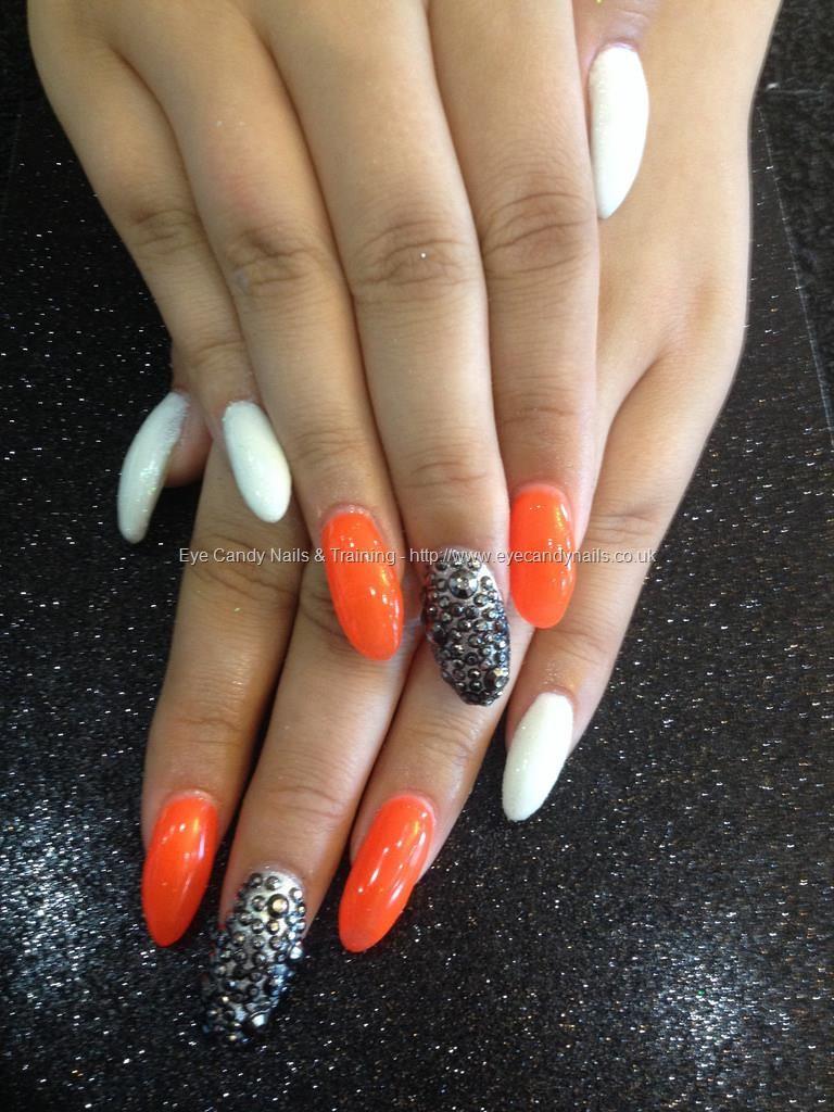 Acrylic nails with orange and white gel polish and white glitter ...