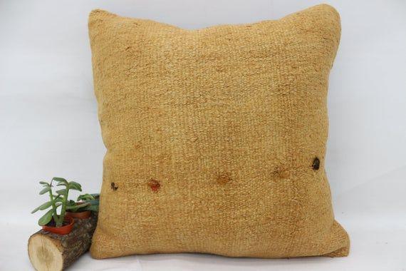 20x20 Natural Pillow, Outdoor Kilim Pillow,Hemp Pillow, Throw Pillow,Cushion Cover, Flat Pillow, Yel