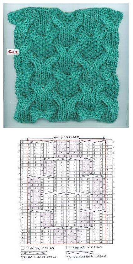 Complex cable | crochet | Pinterest | Puntadas, Dos agujas y Tejido