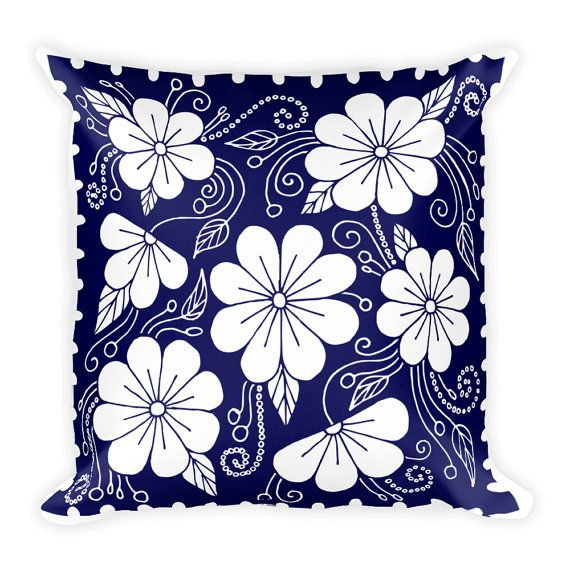 Decorative Pillow - Pillow - Pillow Cover - Throw Pillow - Accent Pillow - Blue and White Floral Pillow
