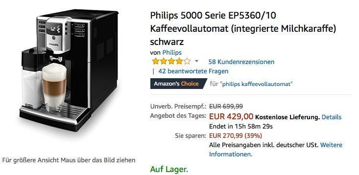 Philips 5000 Serie EP5360/10 Kaffeevollautomat (integrierte - bosch küchenmaschine profi 67