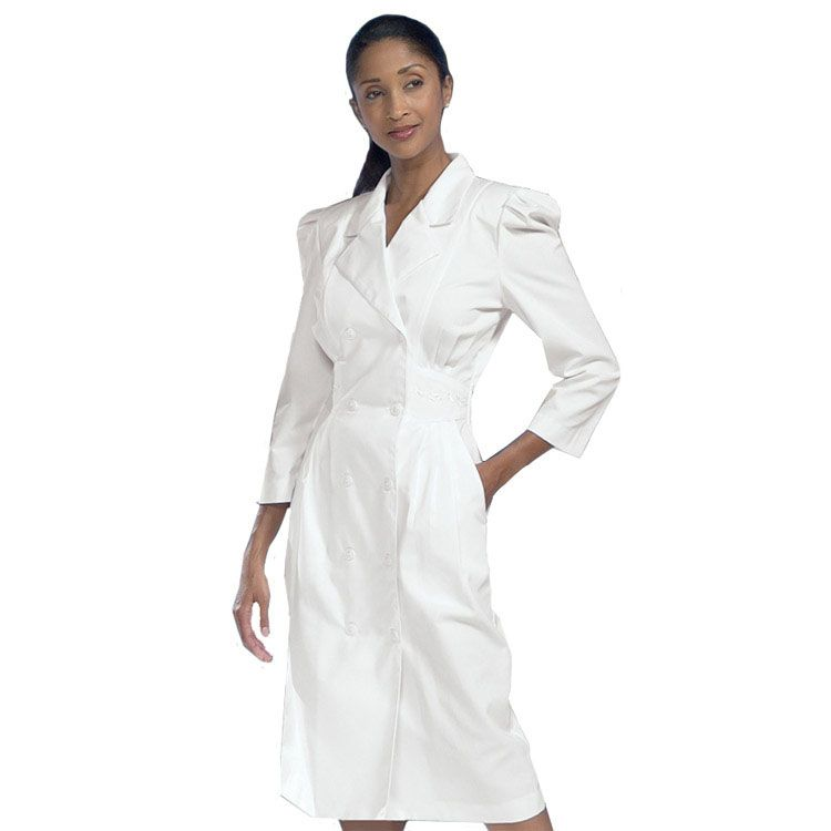 Womens 34 Sleeve Embroidered Waist Scrub Dress Front Button And