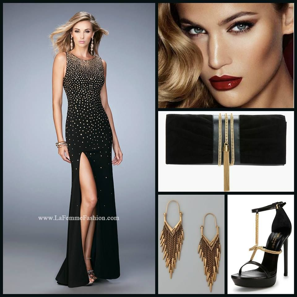 Black Dress Gold Accessories Makeup