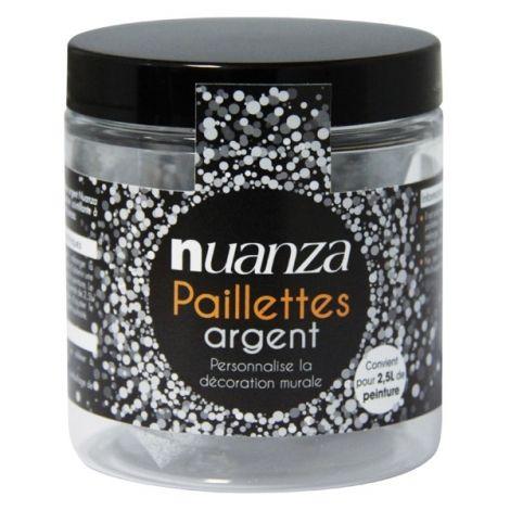Paillettes argent a ajouter dans votre pot de peinture monocouche nuanza peinture paillet e for Peinture murale pailletee