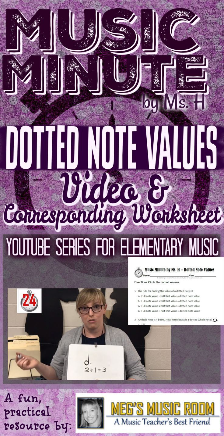 DOTTED NOTE VALUES WORKSHEET and VIDEO for Elementary Music