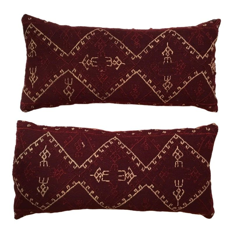 Hand Embroidery Textile Pillows - A Pair