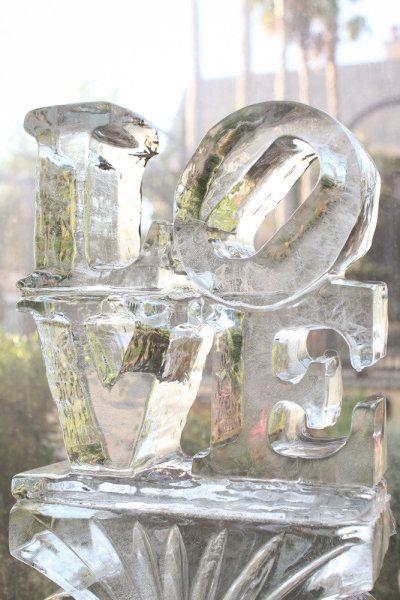 LOVE ice sculpture - Kiawah Island Wedding from Charlotte Elizabeth Photographer