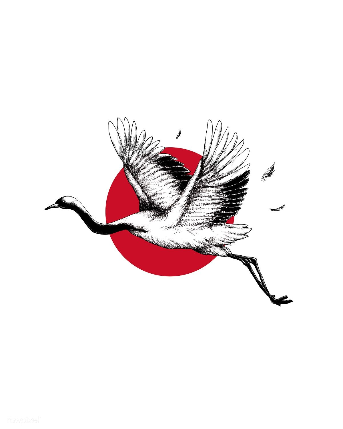 Download Premium Illustration Of Japanese Crane Wall Art Print And Poster Japanese Drawings Tattoo Japanese Style Japanese Tattoo