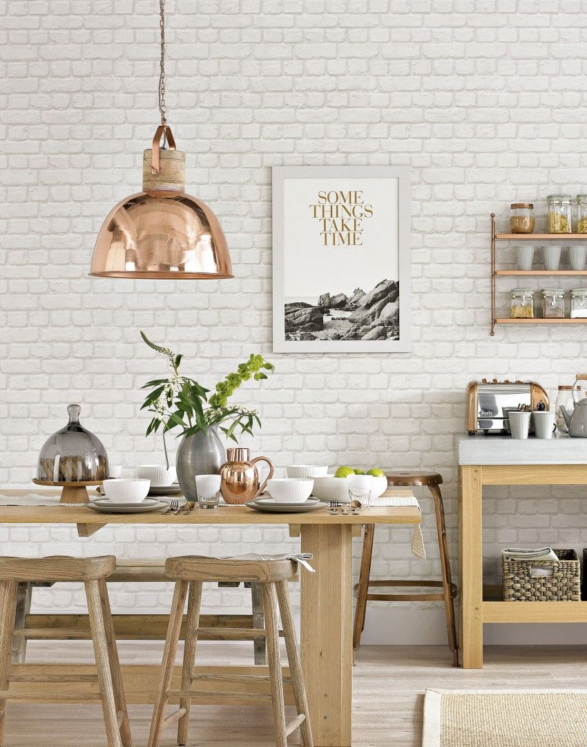 White Country Dining Room With Copper Pendant Lamp