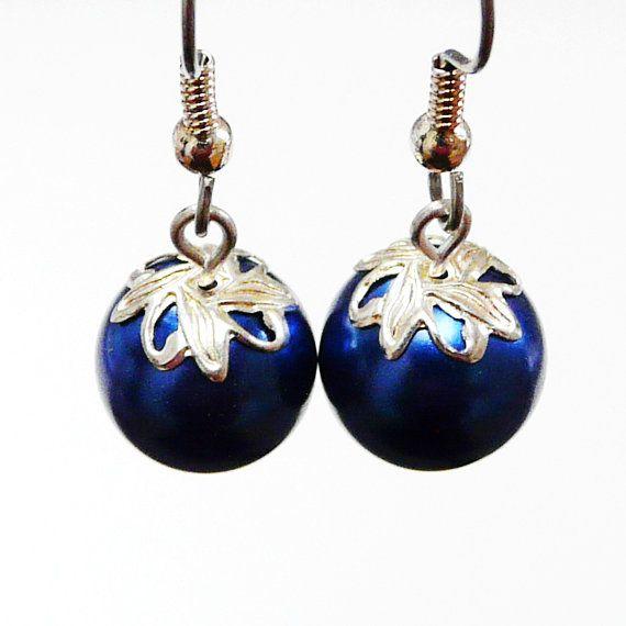 Deep Blue Earrings Silver tone Caps Dangle Earrings Royal ...