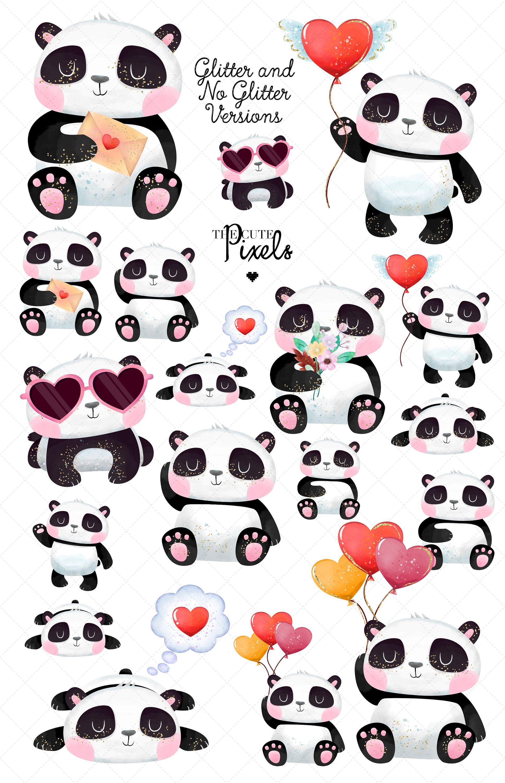 Items Similar To Panda Love Valentine Clipart Cute Bear