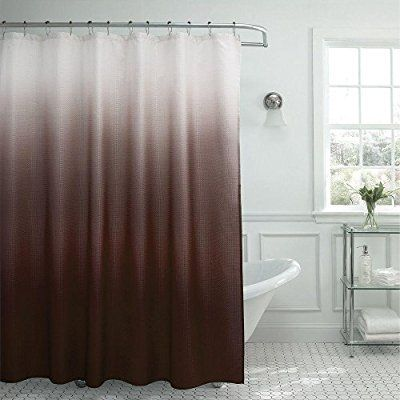 Ombre Waffle Weave Shower Curtain With Matching Metal Roller Rings