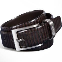 Photo of Belt with reptile embossing in dark brown joop