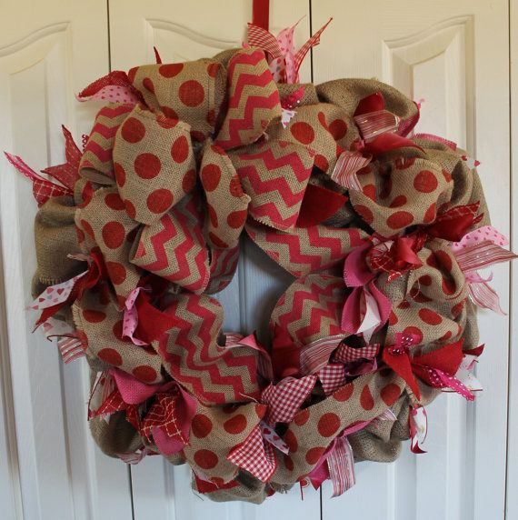 Burlap Valentine's Day Wreath. Rustic by MadyBellaDesigns on Etsy