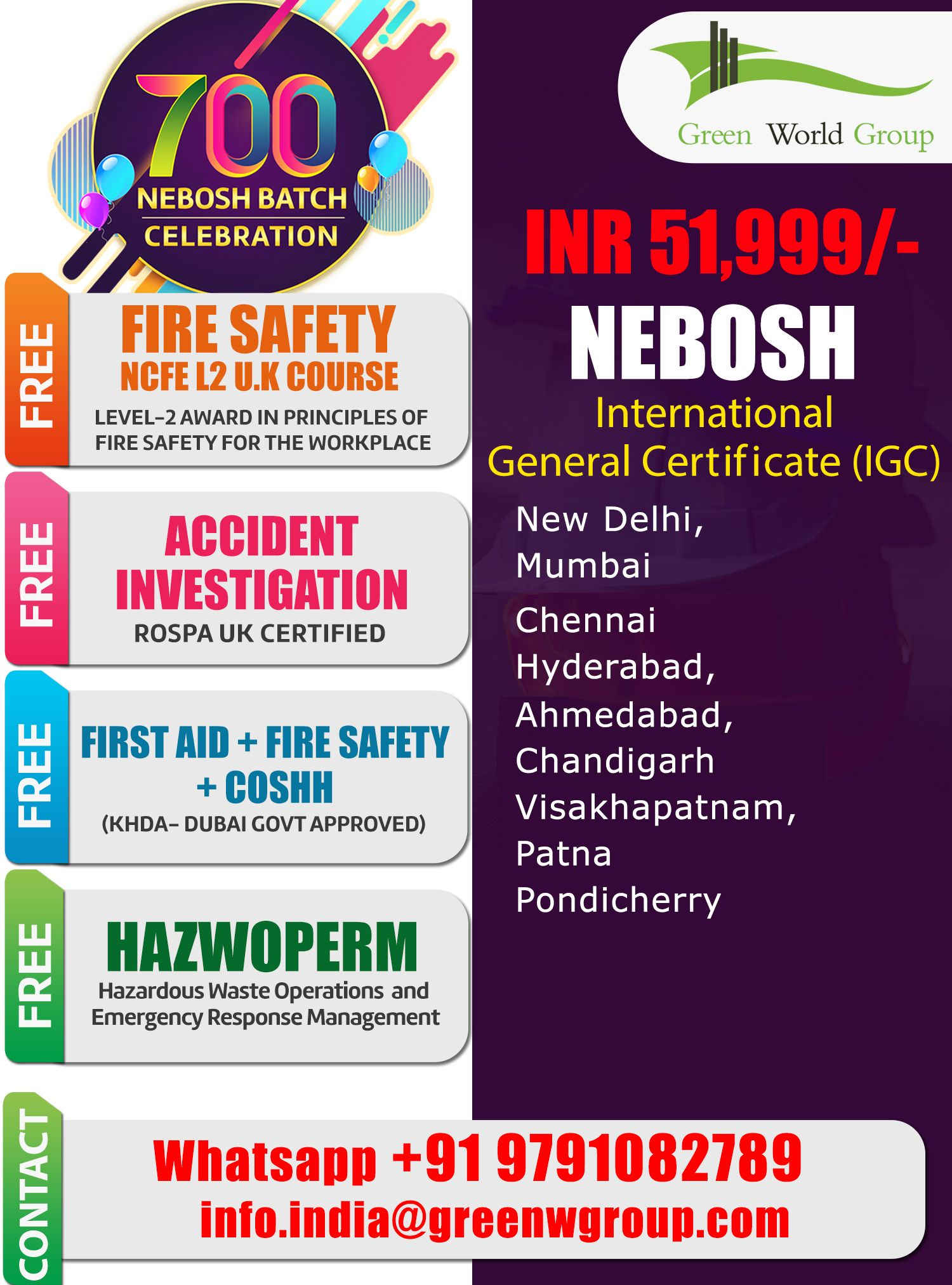 GWG Serves NEBOSH IGC Training Course In Chennai And Also Provide Safety Courses Such Us