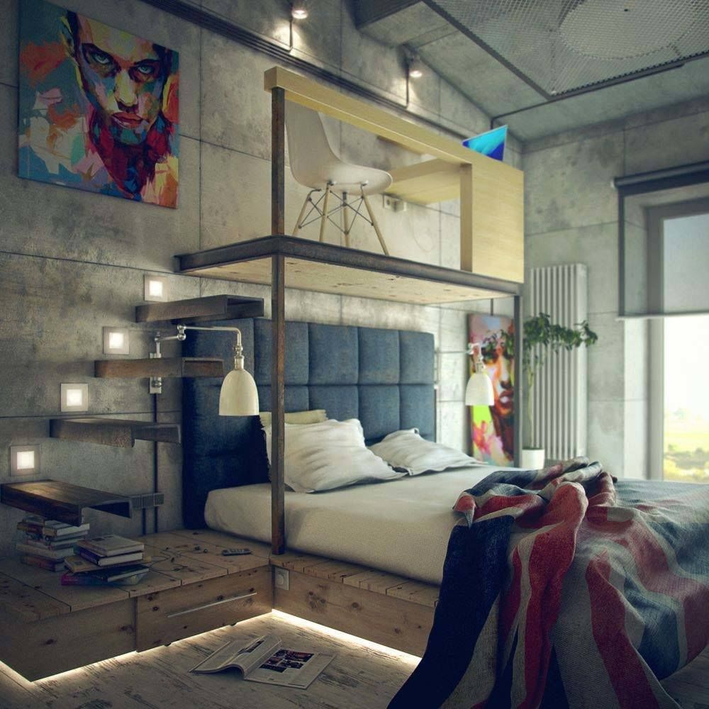 35 Edgy Industrial Style Bedrooms Creating A Statement Industrial Style Bedroom Industrial Bedroom Design Industrial Decor Bedroom