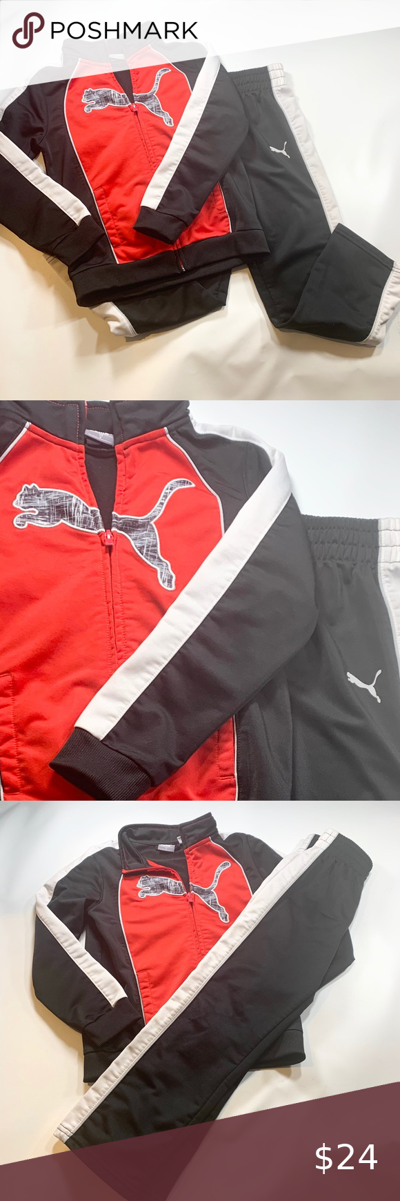 puma red and white tracksuit