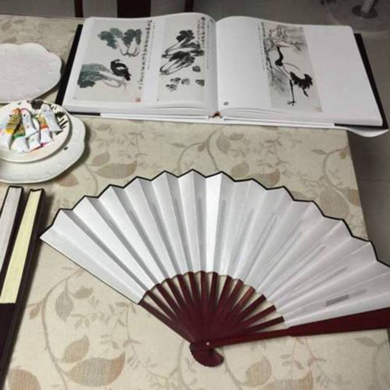 White Hand Held Fan Folding Bamboo Paper Wooden Wedding Events Decor Oriental