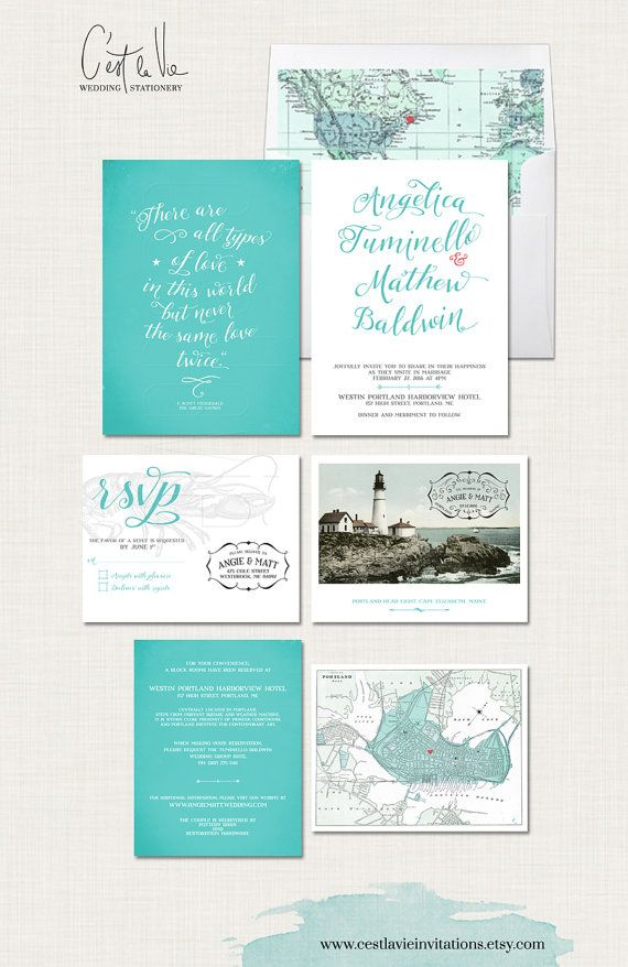 Destination wedding invitation Portland Maine Wedding